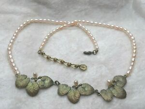 MICHAEL MICHAUD for SILVER SEASONS Bronze Pearl WATER LILIES CHOKER Necklace