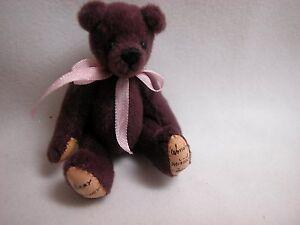 "World of Miniature Bears By Theresa Yang 2.5"" Plush Bear Wine #313 Closing"