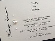 50 X Personalised Handmade Day / Evening Wedding Cards Invitations Pearls Hearts