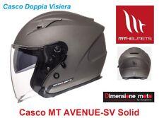"Casco Jet Doppia Visiera ""MT"" AVENUE-SV Solid Matt Titanium Taglia XL 61/62 cm"