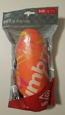 New Umbro Rift Slip-In Soccer Shin Guards Orange Size Large Nip