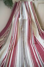 OATMEAL RED SILVER BEIGE STRIPED PAIR CURTAINS,66WX72D,EYELET,COTTON MIX,LINED