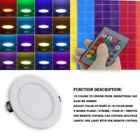 5/10W 16 Color LED RGB Recessed Ceiling Light Panel Down Lamp + Remote Control