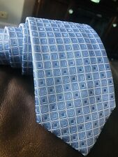 $160 Canali Blue geometric 100% silk necktie made in Italy