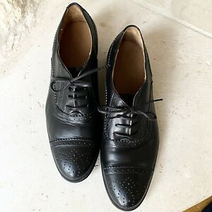 Women's Zara Black Leather Oxford Derby Shoes Lace Up Dress Business US 8