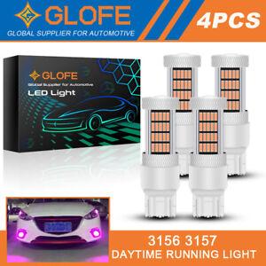 4X Pink 7443 7444 7440 LED Reverse Turn Signal Blinker Parking DRL Light Bulbs