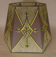 """New 10""""x16""""x""""11 Decorated Craftsmen Green Hexagon Style Mica Lamp Shade #MS705E"""