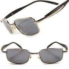 Fancy Silver Cool Vintage Retro 80's Small Mens Sporty Rectangle Sunglasses E39B