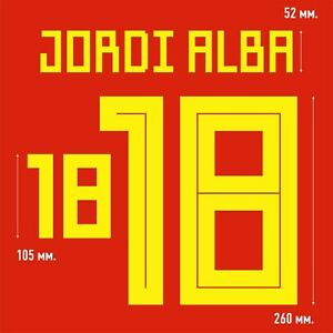 Jordi Alba 18. Spain Home football shirt 2017 - 2019 FLEX NAMESET NAME SET PRINT