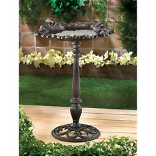 Forest Frolic Cast Iron Birdbath Yard Garden Path Free-Standing Bird Bath New