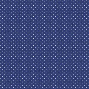 0.5 metre Royal Blue Pinspots Cotton 100% Cotton Fabric 145cm wide