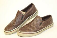 Gucci Italy Made Mens UK 6.5 US 7 7.5 Signature Print Leather Loafers Shoes cq