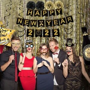 2022 Christmas New Year Party Decor Balloons Banners Photo Booth Frame Props Kit