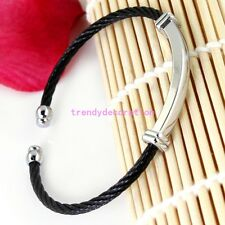 316L Stainless Steel Silver Black Women Men's Twisted Cable Cuff Bangle Bracelet