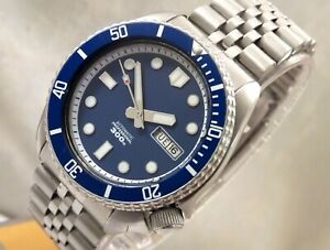 Seiko Blue Marinemaster 300M Day Date Automatic Divers Watch Jubilee Custom 6309