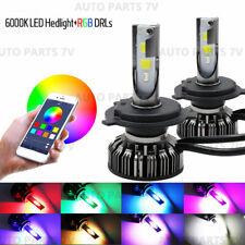Pair H4 9003 72W Car LED RGB Headlight Bluetooth Control Drive Fog Lamp Bulbs