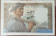 Billet 10 francs MINEUR 20 - 1 - 1944 FRANCE G.78