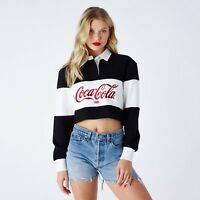 KITH WOMEN X COCA-COLA CROPPED [SZ L] RUGBY L/S BLACK WHITE COKE RED NEW CHERRY