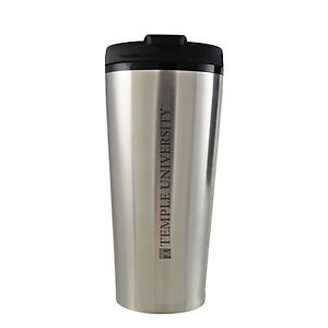 Temple University -16 oz. Travel Mug Tumbler-Silver