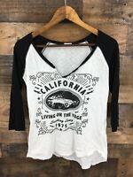 Garage Women's Black & White Burnout California Graphic Tee Size M