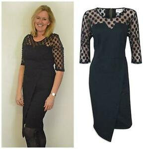 Womens Plus Size Black Wrap Dress with Spotted Mesh Sleeves & Shoulder