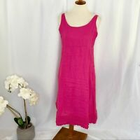 Eileen Fisher Pink Linen Sleeveless Midi Dress Small