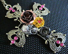 Rhinestone Skull & Rose Flowers Bronze Tone Cross Necklace - Halloween Witch