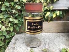 Large Authentic original antique apothecary pharmacy Jar Folia Menthae Pip: