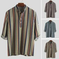 Men Ethnic Pattern Printed Half Sleeve Henley Shirts Blouse Striped Shirt HY