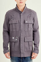 True Religion Men's Distressed Military Jacket in Charcoal