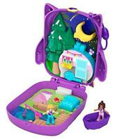 Polly Pocket Pocket World Owlnite Campsite Compact, 2 Micro Dolls, Accessories