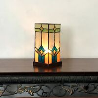 """Tiffany Style 11"""" Tall Pedestal Accent Stained Glass Table Lamp Bronze Base"""