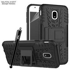 Heavy Duty Shockproof Tough Builder Hard Back Case for Samsung Galaxy J3 2017 Black