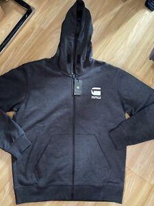 G Star New Mens Black Heather (Dark Grey) XL Zip Up Hoodie RRP £79.99
