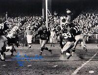 Gino Marchetti Autographed 16x20 B&W Blocking Pass Photo- JSA W Authenticate