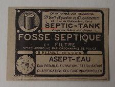 Publicité ancienne Septic Tank, fosse septique,Asept eau  1932,clipping