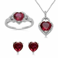 RUBY DIAMOND WEDDING ENGAGEMENT RING NECKLACE + FREE EARRING SET SZ 7 SEE STORE