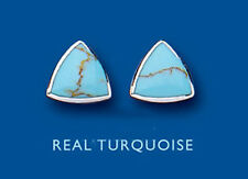 Silver Studs Turquoise Genuine Natural EARRINGS Sterling Silver Triangle BP0278