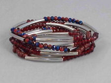 M. Haskell Silvertone Tube Iridescent Red Blue Bead Wrap Stretch Bracelet $20