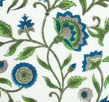 2½ Yards. Hand Printed, India Cotton. Block Print, Artisan Fabric. Blue & Green
