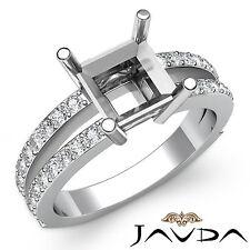 Princess Diamond Engagement Pave Set Women Ring 18k White Gold Semi Mount 0.4Ct
