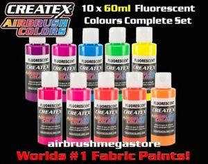 Createx Airbrush Colors 60ml Fluro 10 Colours Importer Direct +Free Insured Post