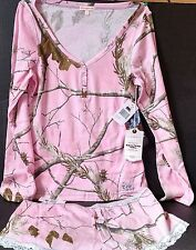 NEW ~ Realtree Girl Dream Henley Pajama Set,  Pink, Mossy Oak Camo ~ Free S/H