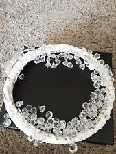 Lit Crystal Wreath 32cm White