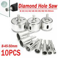10PCS 8-45-50mm Diamond Hole Saw Tile Ceramic Glass Marble Drill Bits Cutter