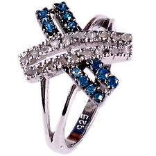 0.62 ct Blue & REAL RAW WHITE NATURAL DIAMOND .925 STERLING SILVER RING SIZE 7
