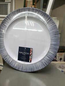 NEW NAUTICA HOME Melamine Dinner Plates ~ Set of 4 ~ Ivory White/Black Stripe