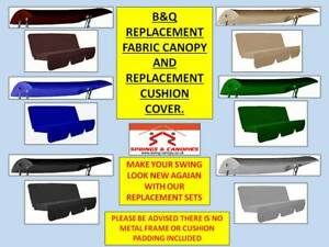 REPLACEMENT CANOPY & CUSHION COVER SET FOR B&Q GARDEN SWING