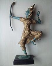 statuette prince Rama Thaïlande danse Archer bronze massif sur socle bois