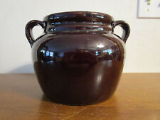Old Vintage Stoneware Pottery Double Handled Bean Pot Brown ~ USA